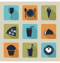 Set icons with food and drinks vector