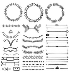 set of hand drawn decorative symbols vector image