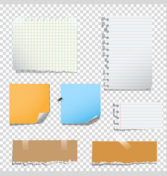 set of notes paper on transparent background vector image