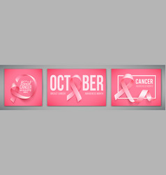 set of posters with for breast cancer awareness vector image