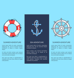 set posters for sea and summer adventures vector image