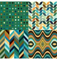 set retro seamless abstract wavy backgrounds vector image