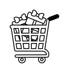 Shopping cart online boxes gift presents outline vector