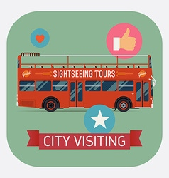 Sight seeing bus promotional poster vector
