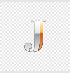 Silver and gold font symbol alphabet letter j vector