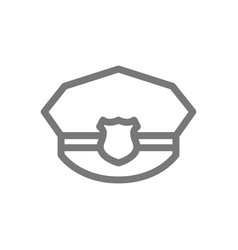 simple police hat line icon symbol and sign vector image