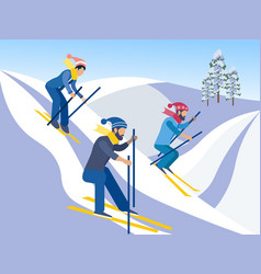 skiing friends go down from mountains on skis vector image