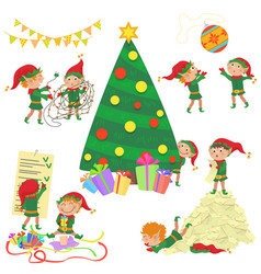 small cute elves decorating vector image