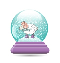 snow globe with a Christmas sheep vector image