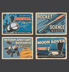 space rocket astronaut rocket moon rover posters vector image