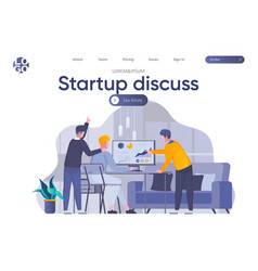 Startup discuss landing page with header vector