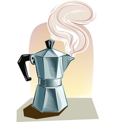 Steaming italian coffee maker vector