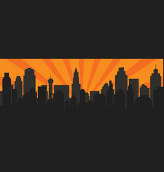 Sunrise and modern black silhouette city in pop vector