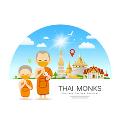 Thai monks and novice with yellow mas temple vector