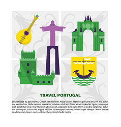 Travel portugal concept banner template in flat vector