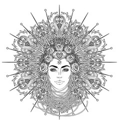 tribal fusion boho goddess beautiful divine diva vector image