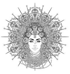 Tribal fusion boho goddess beautiful divine diva vector