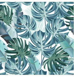 tropical pattern in watercolor style with monstera vector image