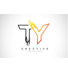 ty creative modern logo design with orange and vector image