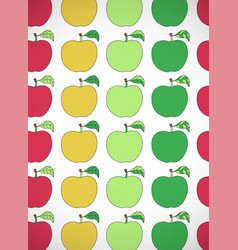 Vertical card with cartoon colorful apples vector