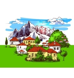 Village houses vector