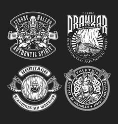 Vintage viking labels vector
