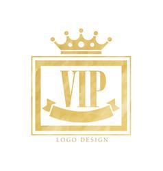 Vip club logo design luxury golden elegant badge vector