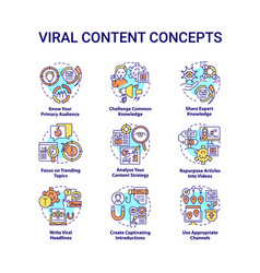 viral content concept icons set vector image