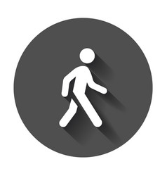 walking man icon people walk sign on black round vector image