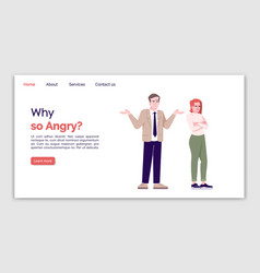 Why so angry landing page template couple vector