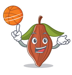 with basketball cacao bean character cartoon vector image
