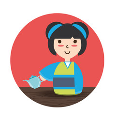 Woman with kimono and tea porcelain decoration vector