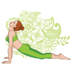 Women silhouette upward dog facing yoga pose vector