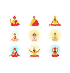 Yogis and sages people in the lotus position vector