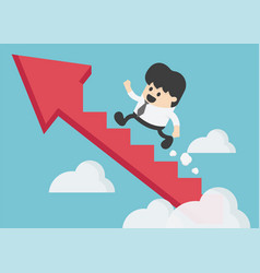 Young businessman climbing arrow stairs to vector