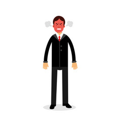 angry man with red face blowing steam coming out vector image