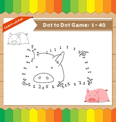 Cartoon Pig Dot to dot educational game for kids vector image