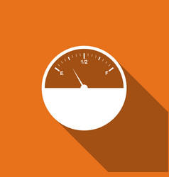 fuel gauge flat icon with long shadow vector image vector image