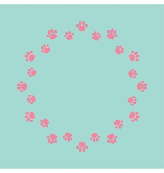 Paw print round abstract frame Empty template vector image
