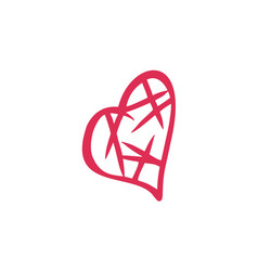 thin line love heart icon vector image vector image