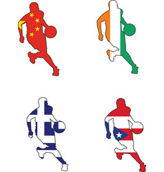 basketball colors of China Ivory Coast Greece Puer vector image vector image