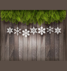 Christmas decoration on old wooden background vector image vector image