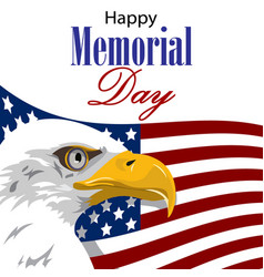 happy memorial day with american eagle vector image
