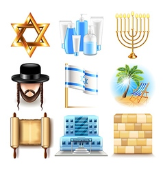 Israel icons set vector image