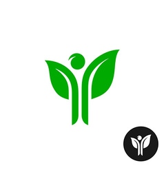 Man figure with hands as a green plant leaves logo vector