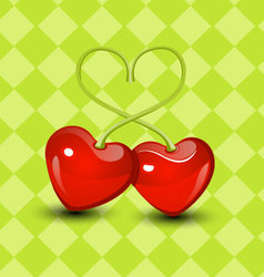Sweet two Cherry hearts valentine vector image