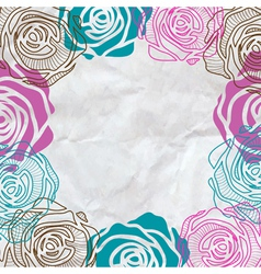 Color roses frame on crumpled paper vector image vector image