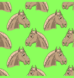 colored horse head seamless pattern vector image vector image