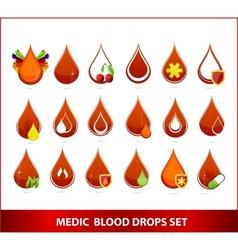 creative medic blood drops symbols set vector image vector image