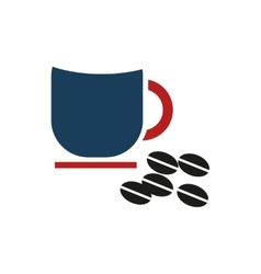 flat icon on white background cup coffee beans vector image vector image